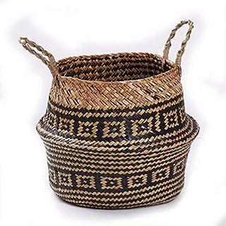 SUNXIN Seagrass cesta de cesteria de mimbre plegable