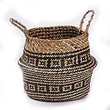 SUNXIN Seagrass cesta de cesteria de mimbre plegable colgante maceta de flores...
