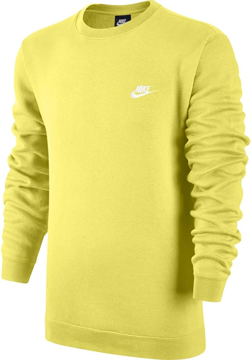 Nike Mens Sportswear Crew Fleece Club Sweatshirt Yellow Pulse White 804340-785 Size Large