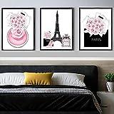 ZYQYQ Perfume rosa lienzo pintura bolsa de compras cartel Torre Eiffel cuadro de arte de pared para sala de estar decoración del hogar 40x60cmx3 sin marco