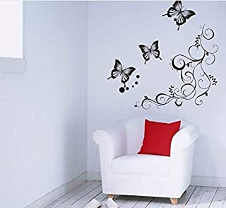 3D Wall Stickers 90 120Cm Flower Vine 2 Butterflies 4 Butterflies Flying Black Wall Sticker