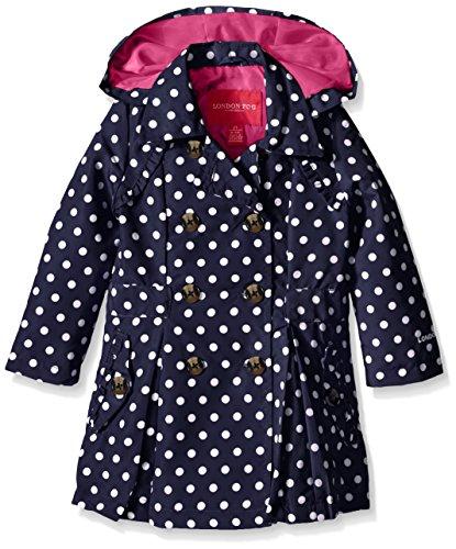 London Fog Little Girls' Toddler Lightweight Polka Dot Trench Coat, Navy, 2T