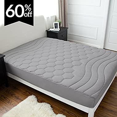 Bedsure Quilted Mattress Pad Queen Grey Fitted Sheet Mattress Cover, Super Soft - Hypoallergenic, Luxury Mattress Protector Stretches up to 18 Inches Deep