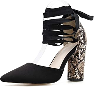 Stupmary Pointed Toe Women Pumps Snake Print Block Heel Ankle Strap Lace Up High Heels