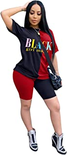 JiherBeauty Women Casual 2 Piece Outfit Short Sleeve Letter Print T-Shirts Bodycon Shorts Set Jumpsuit Rompers