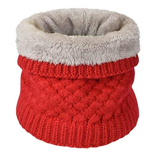 heekpek Sciarpa Invernale Donna Sciarpa Rotonda Lavorata a Maglia (rosso)