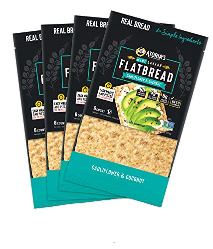 NEW Atoria's Family Bakery Cauliflower & Coconut Mini Lavash Flatbread │Perfect for sandwich bread, wraps or pizza crust │60 calories, 3g net carbs│KETO-FRIENDLY │ 4 packs of 6 flatbreads | 24 pieces