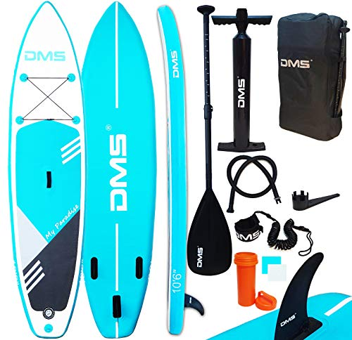 DMS® Aufblasbare SUP Board Set Stand Up Paddle Board 320x76x15cm 10.6' Premium Surfboard 3 Finnen Wassersport Komplettes Zubehör 130kg Alu-Paddel Transporttasche SUP-320