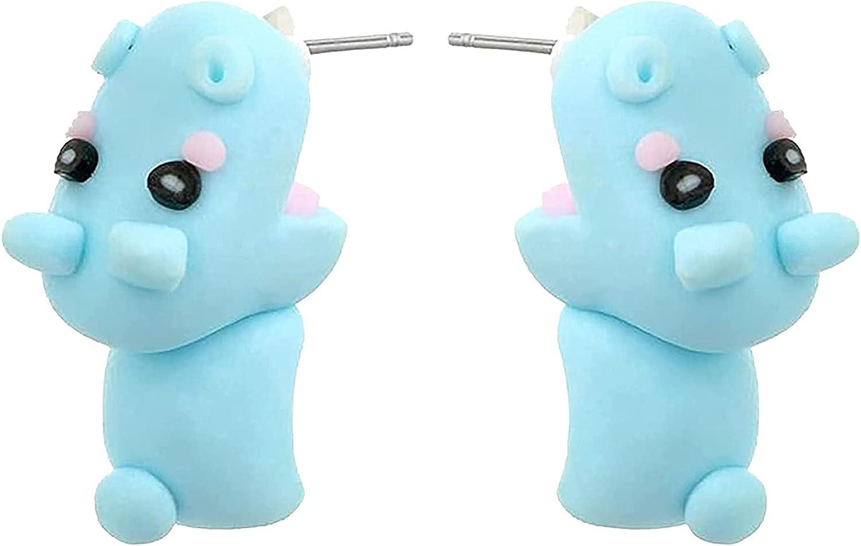 Cute Biting Ear Studs, 3D Simple Cartoon Animal Bite Earrings Fashion Handmade Polymer Stud for Girls Women