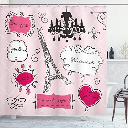 ABAKUHAUS Teen Zimmer Duschvorhang, Doodle Frames Französisch, Bakterie Schimmel Resistent inkl. 12 Haken Waschbar Stielvoller Digitaldruck, 175 x 240 cm, Hot Pink und schwarz