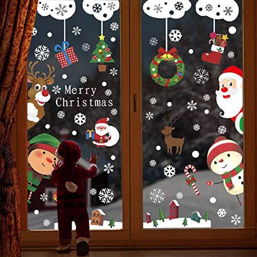CMTOP 114 Stück Weihnachten Fensterdeko Weihnachten Aufkleber Fenster Weihnachtsmann Elch Schneemann Abnehmbare Weihnachten Deko Wandtattoo Weihnachten Statisch Haftende PVC Aufkleber