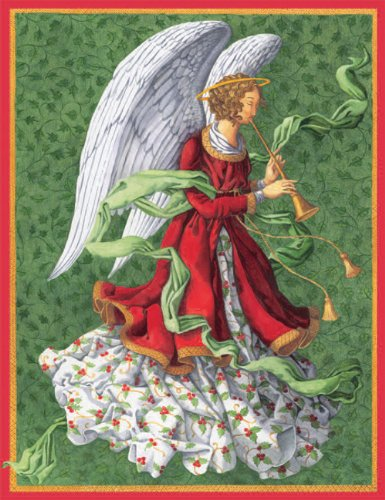 Entertaining with Caspari Angel with Trumpet Christmas Cards with Unlined Envelopes, Box of 16