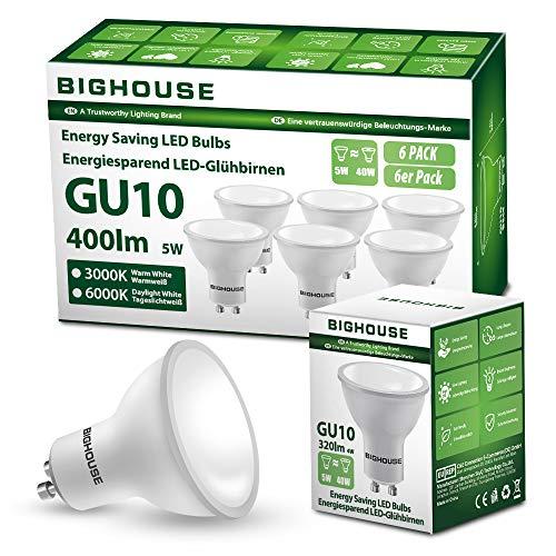 BIG HOUSE GU10 Warmweiss (3000K), 5W 400 Lumen LED Lampe Ersatz für 50W Halogenlampen, 120° Abstrahlwinkel, 220-240V AC (6 Stück)