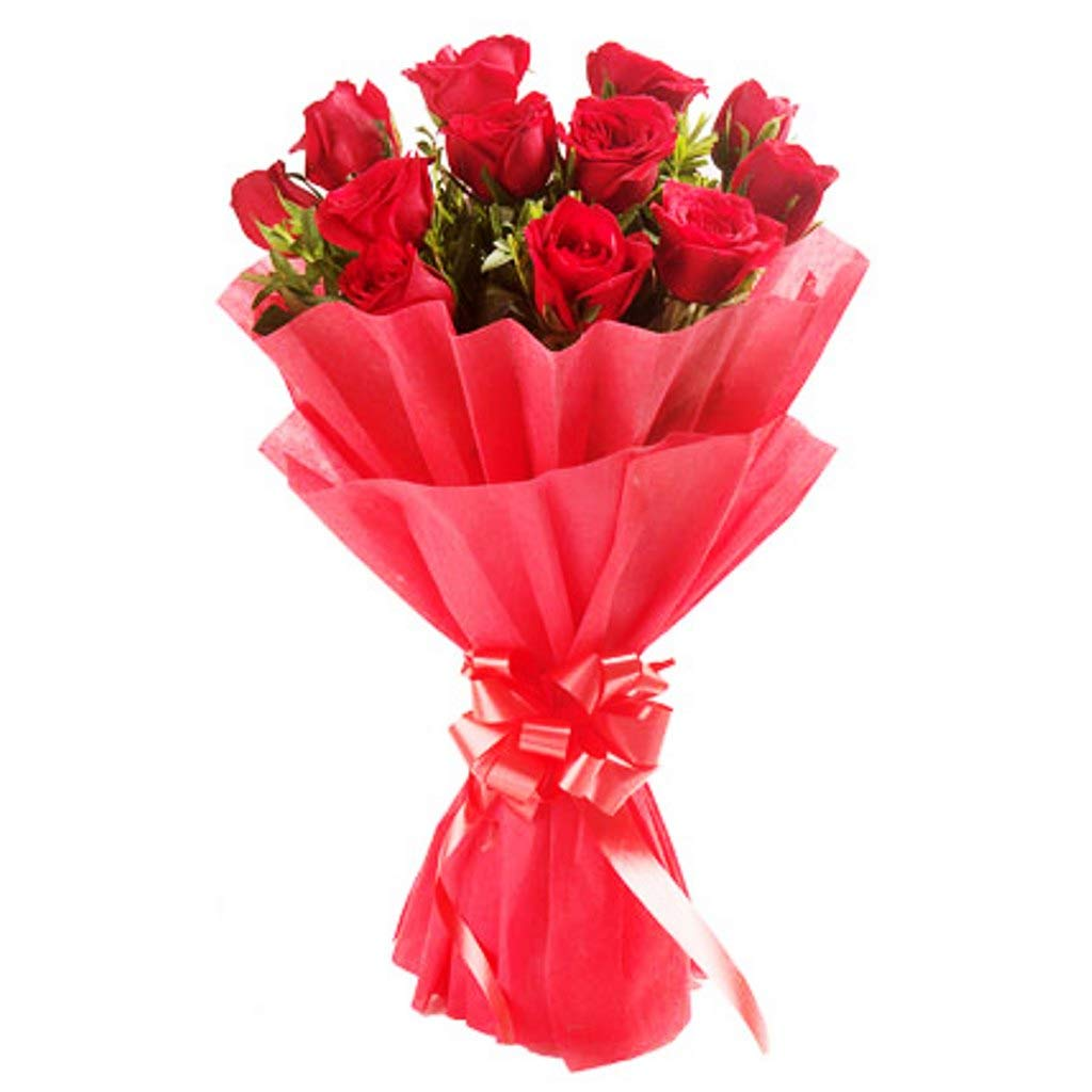 The Floralmart Fresh Flower Bouquet Of 8 Red Roses In Paper Wrapping Amazon In Home Kitchen