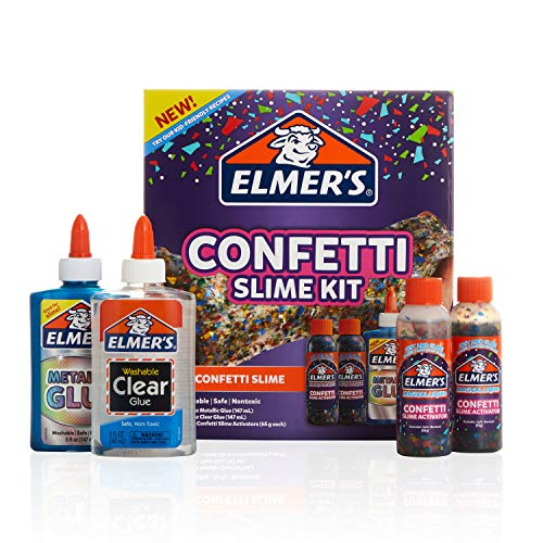 Elmer?s Confetti Slime Kit | Slime Supplies Include Metallic Glue, Clear Glue, Confetti Magical Liquid Slime Activator, 4 Count