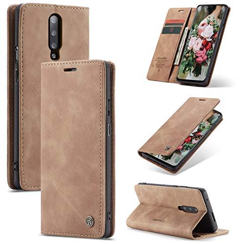FMPC Handyhülle für Oneplus 7 Pro Premium Lederhülle PU Flip Magnet Hülle Wallet Klapphülle Silikon Bumper Schutzhülle für Oneplus 7 Pro Handytasche - Braun