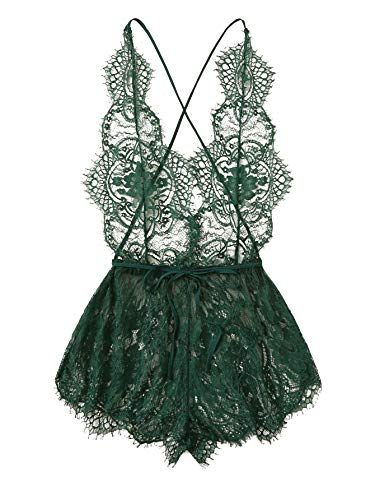 MakeMeChic Women's Lace Teddy Lingerie Deep V Backless Sleeveless Romper Sleepwear Dark Green L