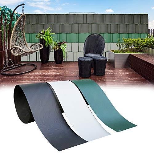 interGo 5 Stück Hart PVC Sichtschutzstreifen, Sichtschutz Windschutz Garten für Doppelstabmattenzaun Zaun Zaunsichtschutz für Gartenzaun, Balkon- Anthrazit(2,5m*19cm)