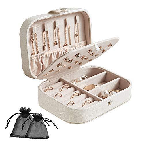 SwirlColor Schmuckkästchen Damen, Vielseitig Langlebig Tragbar 3-lagig Schmuck-Organizer-Schatulle für Halskette Ohrringe Ringe Armbänder Uhren Manschettenknöpfe - Weiß