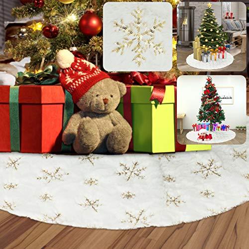 vLoveLife Weihnachtsbaum-Rock, 91,4 cm, Weihnachtsbaum-Rock, Plüsch-Stoff mit goldfarbenen Pailletten, Schneeflocke, Baummatte für Weihnachtsdekorationen, Plüsch Stoff, Weiß und goldfarben, 91,4 cm