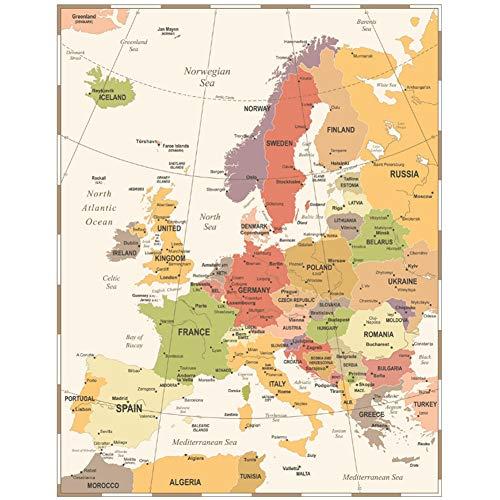 A&D Bunte Europa Karte Vintage Antike Leinwand Wandaufkleber Wohnzimmer Poster drucken Retro Kunst Stil Malerei Cafe Pub Bar Bild-60x80 cm Kein Rahmen