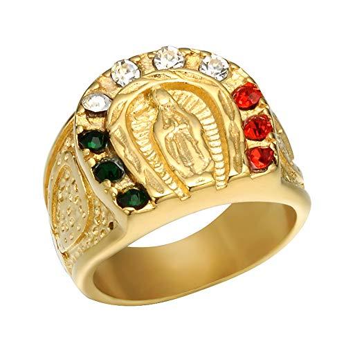 JunMei Anillo Unisex de Acero Inoxidable Virgen María Anillo de Diamantes con Incrustaciones religiosas góticas para Hombres Mujeres
