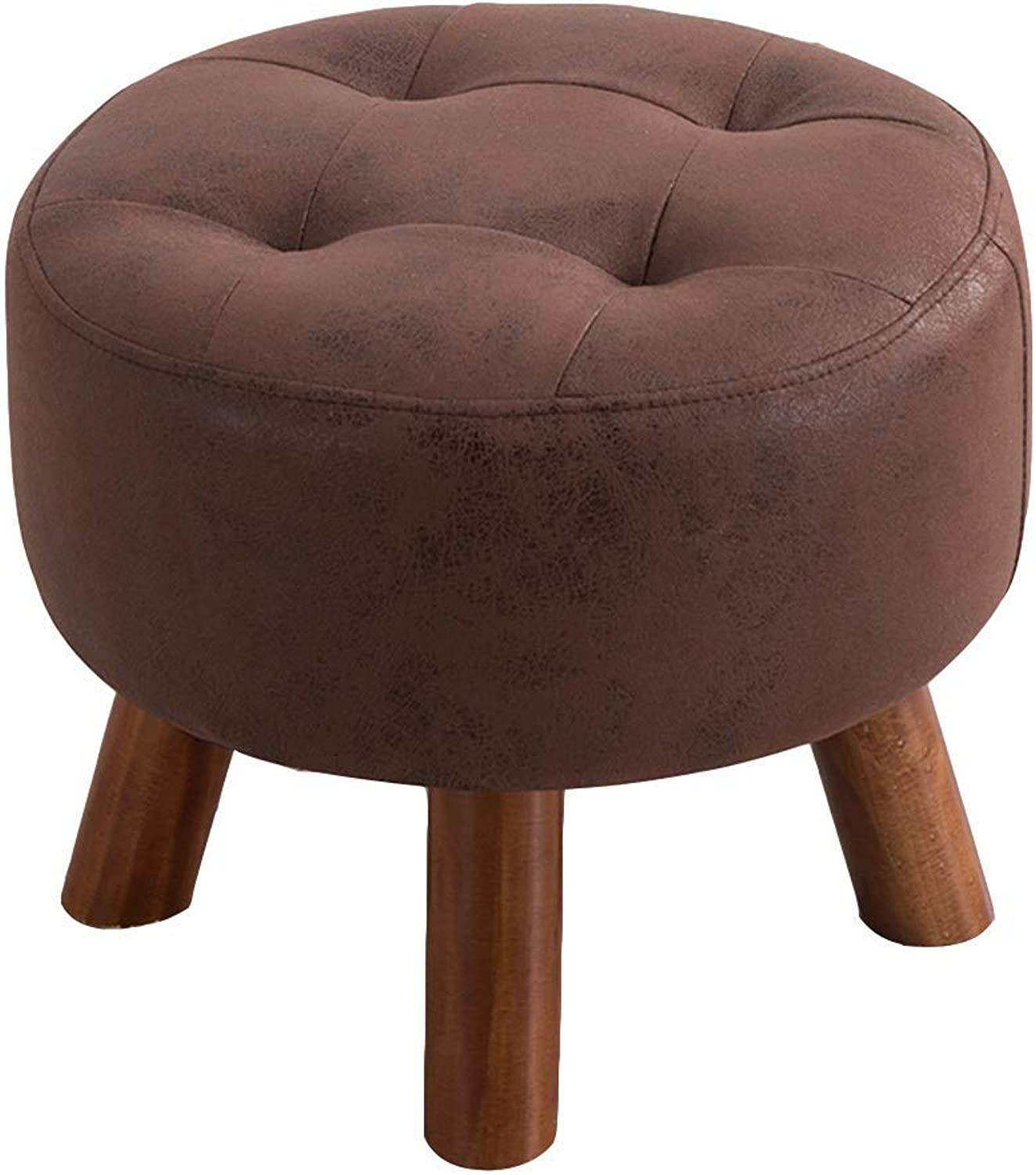LUHEN Solid Wood Stool - Small Stool Fashion Creative Sofa Stool Coffee Table Wearing shoes Sitting Pier Dressing Footstool shoes Bench Stool (color   Dark Brown)