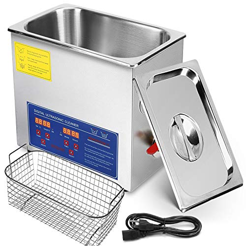 VEVOR 6L Ultrasonic Cleaner Commercial Ultrasonic Professional Stainless Steel Ultrasonic Parts Cleaner Jewelry Cleaner with Heater Timer(6L)
