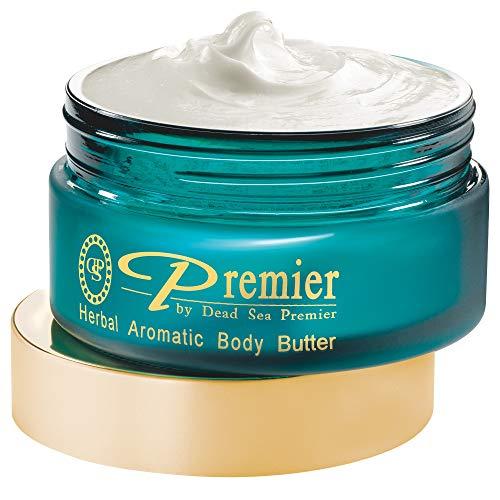 Premier Dead Sea Aromatic Body Butter- Herbal, anti aging skin care, moisturizer, hydrating shea butter, stretch mark cream, firming, age spots, neck & Décolleté, lightweight & silky, 5.95Fl.oz