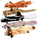 Dog Squeaky Toys, No Stuffing Plush Chew Toy for Small Medium Dogs Puppy Aggressive Chewers Large Breed, 5 Pack Cute Animals (Raccoon Squirrel Tiger Fox and Lion)