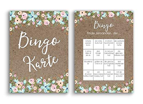 Nastami Bingokarten für die Hochzeit, Hochzeitsspiel für Gäste und Brautpaar, 50 Stück
