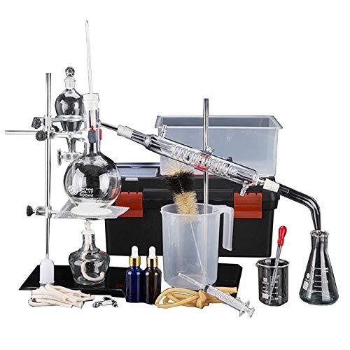 Lchzl Aceite Esencial Aparato de Destilación Kits de cristalería de Laboratorio Nueva 500ml Total Destilador de Agua Purificador