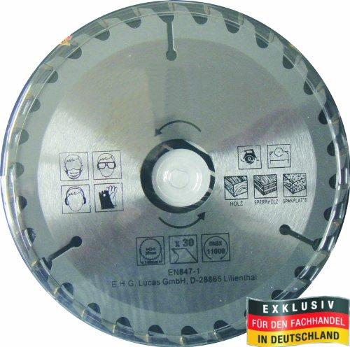 Masterproof Lame de scie circulaire 140 mm, 30 dents, trempé spécial pour bois, circulaire et scie circulaire de table