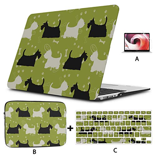 Laptop Cover Cute Cartoon Pet Dog Scottish Terrier MacBook Air Covers Hard Shell Mac Air 11'/13' Pro 13'/15'/16' with Notebook Sleeve Bag for MacBook 2008-2020 Version