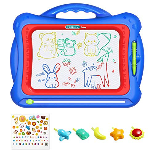 """Geekper Magnetic Drawing Board, 15.75"""" Erasable Colorful Magna Doodle Toys Writing Sketching Pad Set with 5 Shape Stamps & Lovely Sticker ( Blue )"""