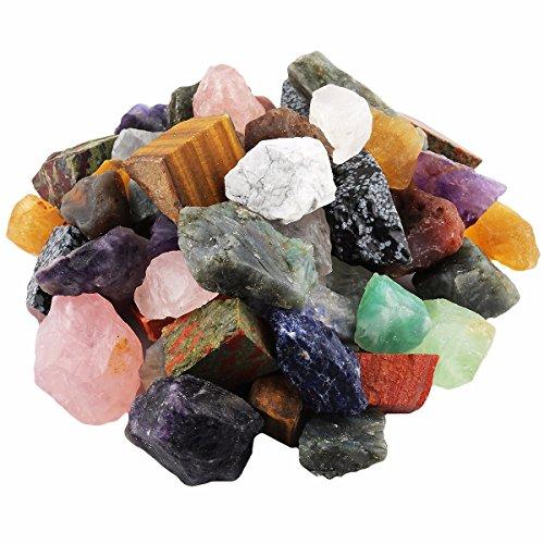 mookaitedecor 0,5 kg große natürliche rohe Kristalle grobe Steine für Tumbling, Cabbing, Polieren, Drahtwickelung, Wicca & Reiki-Kristall-Heilung, verschiedene Steine