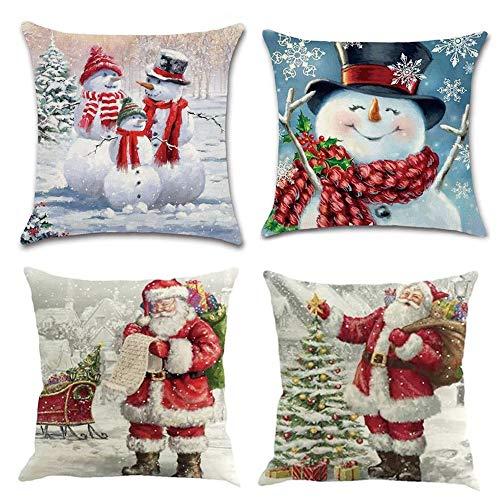 MMTX 4 Pezzi Natale Fodere per Cuscini, Pupazzo di Neve Invernale Babbo Natale Cuscini Decorativi per la casa per Fodere per Cuscini Decorativi Divano Cuscino Natalizio Fodere per Cuscino per Divano
