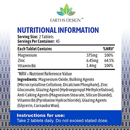 ZMA - Zinc Magnesium Supplement with Vitamin B6 - Vitamin & Mineral Sports Supplement - 90 Capsules (2 Months Supply) by Earths Design