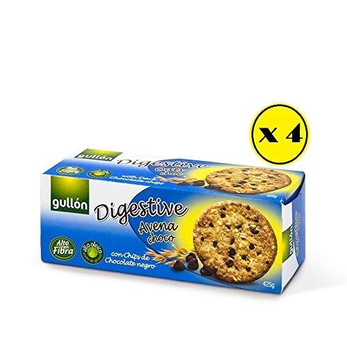 Gullón - Digestive Oats Choc - Galleta integral con avena, trigo y gotas de chocolate negro - 425 g [Pack de 4 paquetes de 425 gramos]
