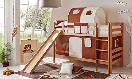 Etagenbett mit Rutsche Doppelbett Lupo Buche massiv Natur mit Farbauswahl, Vorhangstoff:Braun Beige