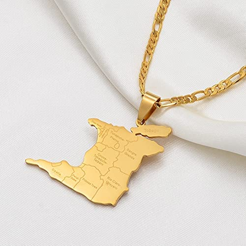 LIPPIP88 (3.5Cm Big) Trinidad & Tobago Map City Name Pendant Necklace for Women Men Gold Color Trendy Ethnic Jewelry Gifts Chain 60cm (Gold Color)