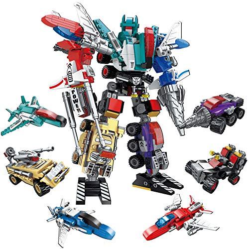 HapeeFun 6 IN 1 Robot Costruzioni Giocattolo, Costruzione Blocchi Robot STEM 498 Pezzi , Robot Giocattoli Kit, Robot Costruzione Blocchi, Giocattolo per l'edilizia di Apprendimento per età 6+ Bambini