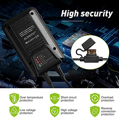 TPE Automatic Smart Battery Charger, Fully Automotive Battery Charger 6V 1.25A Battery Maintainer 6V/12V Trickle Charger Battery Charger for Car, Motorcycle, SLA, AGM, Gel Cell Lead Acid Battery