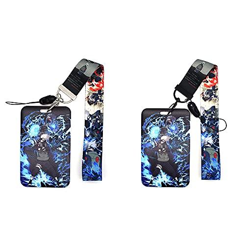 Ninja Hatake Kakashi Cordón para el Cuello, cordón anime Llavero ID Badge Holder Tarjeta De Identificación Lanyard para llavero tarjeta exposición Material de oficina 2 piezas