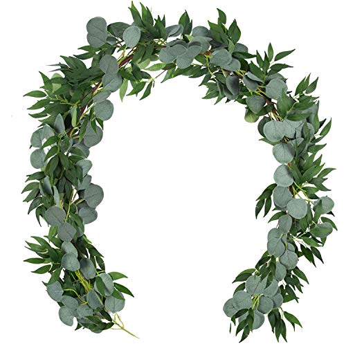 NESTURS & KALTRONS Artificial Eucalyptus Garlands | Greenery Garland Décor | Room Décor | 2 Strands of Faux Greenery with Silver Dollar Eucalyptus with Willow Leaves and Vines for Wedding Decorations