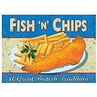 Fish And Chips メタルポスター壁画ショップ看板ショップ看板表示板金属板ブリキ看板情報防水装飾レストラン日本食料品店カフェ旅行用品誕生日新年クリスマスパーティーギフト