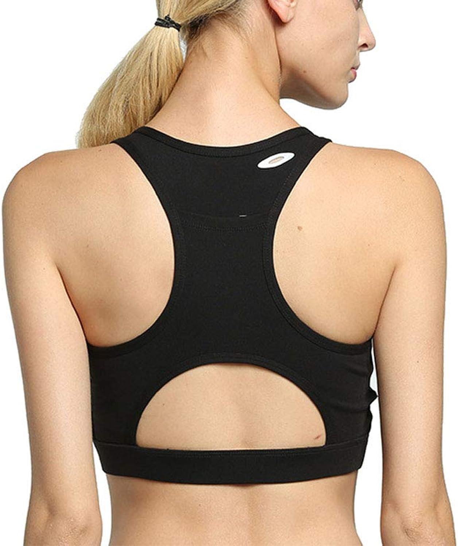 Women's Sports Fitness Bra Yoga Bra Back Pocket Portable Cell Phone Yoga Shockproof Sports Bra Female, Black