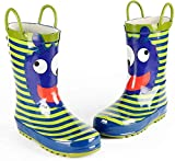 ADDYZ Botas de lluvia para niños, bebé, botas de lluvia, zapatos de lluvia de goma-13, verde
