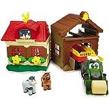 Fendt Bauernhof Spielzeug Bauernhaus mit Traktor und Anhänger Pferd Kuh Spielzeugauto Kunststoff...