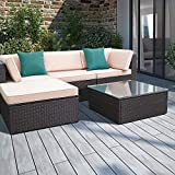 Devoko 5 Pieces Patio Furniture Sets All-Weather Outdoor Sectional Sofa Manual Weaving Wicker Rattan Patio Conversation Set with Cushion and Glass Table